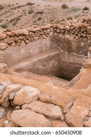 The ruins of what may have been a mikveh, a Jewish ritual bath at Qumran on the West Bank in the Palestinian Territories of Israel.