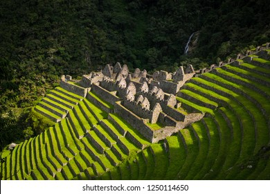 the Ruins of Winawayna in the original inca trail, near to machu picchu, Peru