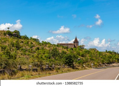 The ruins of a XIX century French Catholic church at Bokor National Park, Kampot, Cambodia