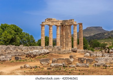 ruins of Zeus temple in  Ancient Nemea, Corinthia