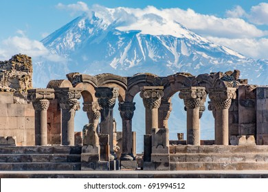 Ruins of the Zvartnos temple in Yerevan, Armenia, with Mt Ararat in the background