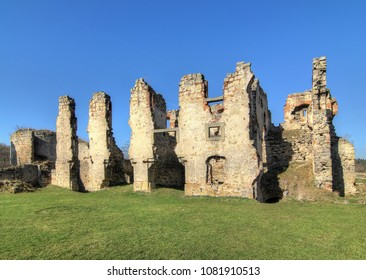 Ruins of Zviretice castle - extensive ruins of the castle from the 14th century, Czech Republic