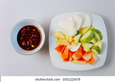 Rujak Buah, fruit with sweet ketchup