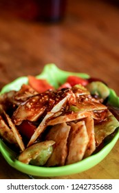 Rujak Buah, Indonesian Traditional Food of Sliced Mixed Fruits with Peanut Sauce