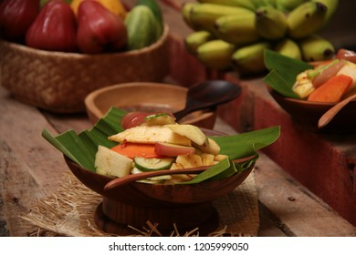 Rujak Buah. Tropical Fresh Fruit Salad with Spicy Coconut Sugar Dressing
