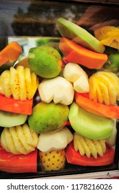 rujak fruit,rujak is fruit salad with hot spicy sauce