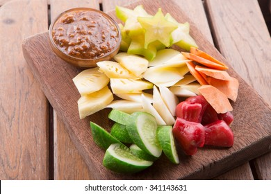 Rujak: Indonesian Fruit Salad (starfruit, water apple, cucumber, mango, pineapple, raw sweet potato, bengkoang / jicama) with sweet peanut butter sauce dressing