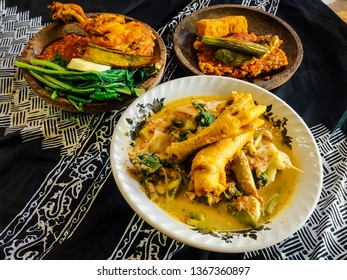 Rujak Soto, Tempong Rice or Nasi Tempong, and Tempeh Penyet is a typical cuisine or traditional food from the Banyuwangi area, East Java, Indonesia.