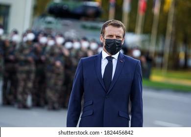 RUKLA, LITHUANIA -  SEPTEMBER 30, 2020: President of France  Emmanuel Macron with mask. Emmanuel Jean-Michel Frédéric Macron is a French politician.