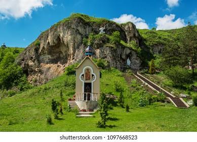 Rukomysh Cave temple and chapel, Buchach District, Ternopil Region, Ukraine.