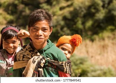 Rukum Nepal ,15 October 2013:Nepali children  smiling while posing for a camera from Rukum Nepal.