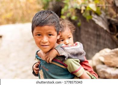 Rukum Nepal ,15 September 2013:Nepali kid posing for a camera from Rukum Nepal.