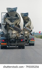 rule violation on the road and concrete truck