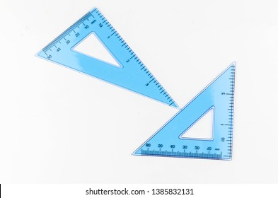 Ruler metric at white background, top view. Selective focus.