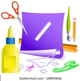 Ruler. Paper template. Raster illustration.