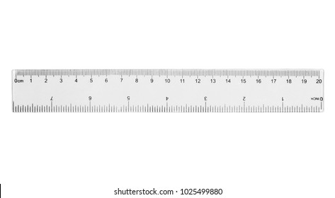 ruler plastic transparent isolated on  white background, with clipping path