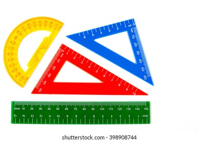 ruler, triangle and protractor