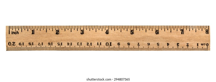 Ruler wooden, isolated on white background