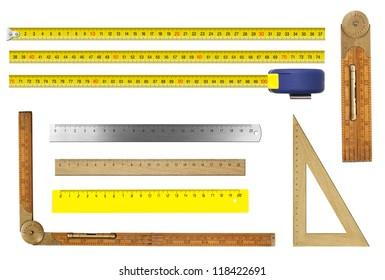 rulers set isolated on white