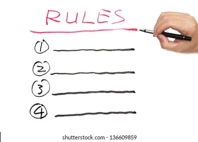 Rules list written on white paper