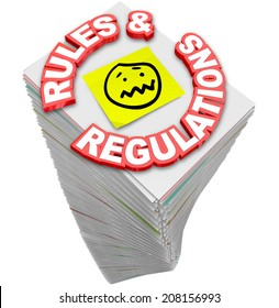 Rules and Regulations words in red 3d letters on a stack of paperwork, guidelines, codes, laws and standards you must follow in your business or finances