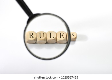 Rules word on wooden cubes. Rules concept