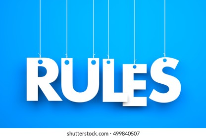 Rules words hanging on blue background. 3d illustration