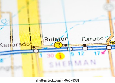 Ruleton. Kansas. USA on a map