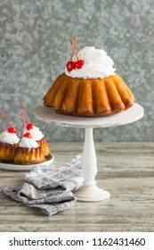 Rum baba with cherry