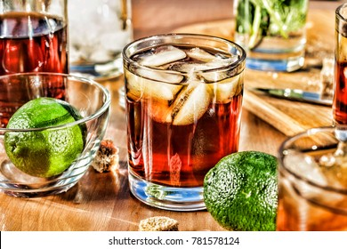 Rum with lime and cola. Alcohol Cocktail