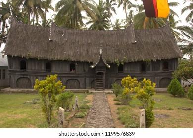 Rumah tuo kampai nan panjang ( black rumah gadang traditional house of minangkabau people) in Indonesia
