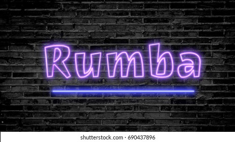 Rumba neon sign on dark brick wall - background image