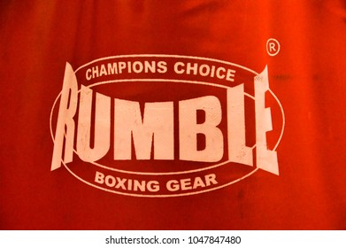 Rumble Boxing Gear Punching Bag Sign At Amsterdam The Netherlands 2018