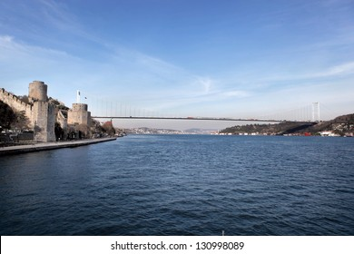 Rumeli Castle and Fatih Sultan Mehmet Bridge in Istanbul,Turkey
