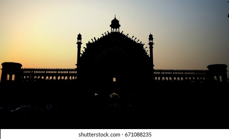 The Rumi Darwaza (Turkish Gate) Morning Sunrise view of 5 Am ;Lucknow, Uttar Pradesh, India,It was built under the patronage of Nawab Asaf-Ud-daula in 1784. It is 60 feet tall and symbol of the city.
