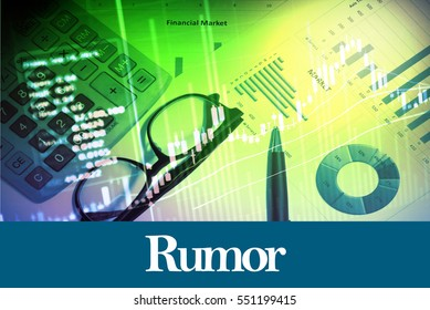 Rumor - Abstract digital information to represent Business&Financial as concept. The word Rumor is a part of stock market vocabulary in stock photo