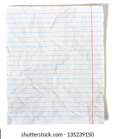 Rumpled lined sheet of paper isolated on white background