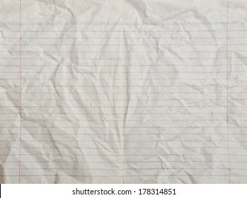 Rumpled vintage lined paper or notebook paper