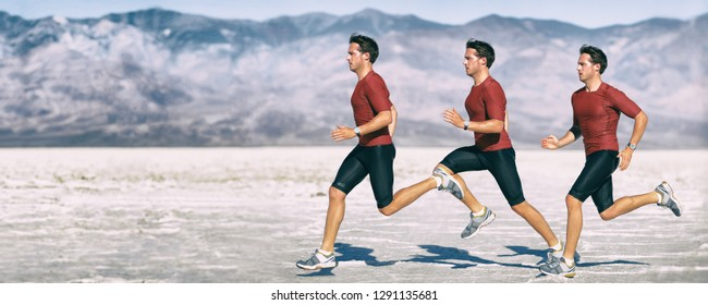 Run athlete multiple exposure of man runner sprinting. Cross country running in desert landscape panorama banner. Biomechanics gait analysis concept.