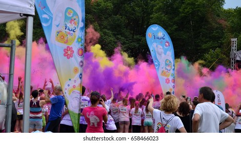 run in colors - rainbow eclipse. Participants of the charitable action Run in colors held in June 3th, 2017, Plzen, Czech Republic