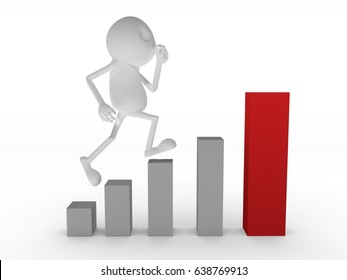 Run and Jump in the Growth Graph Blank 3D Wooden Character.