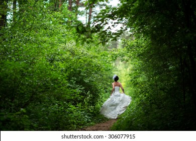runaway bride in the forest