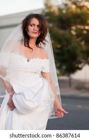Runaway bride hitchhiking