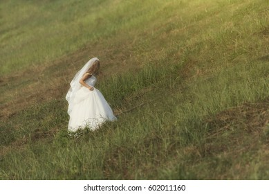 Runaway bride. Wedding day. Running bride.