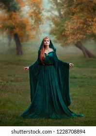 runaway princess with red blond long hair dressed in a green emerald expensive velvet royal cloak-dress with a precious brooch, the girl got lost in a dark foggy forest, fell into a trap, art photo