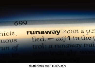 runaway word in a dictionary. runaway concept.