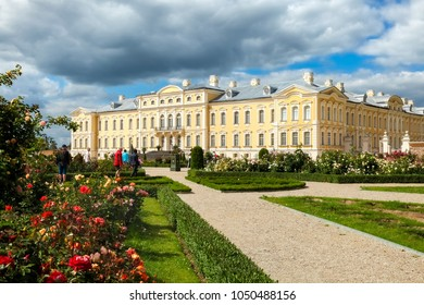 Rundale, Latvia - July, 2017: Rundale palace built in baroque style in Pilsrundale, Latvia
