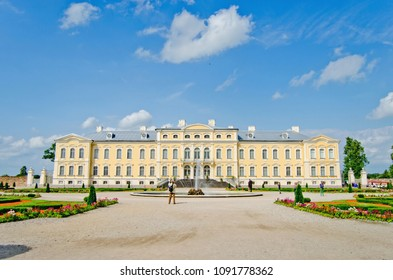 RUNDALE, LATVIA - JUNE 10, 2016: Photo of Rundale palace and it's gardens, built in 18th Century