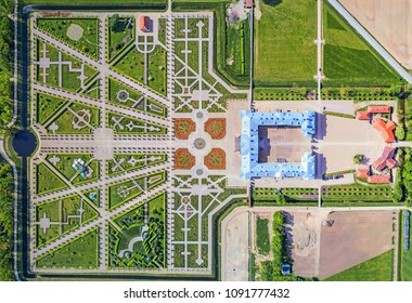 RUNDALE, LATVIA - MAY 13, 2018: Aerial view, drone photo of Rundale palace and it's gardens, built in 18th Century