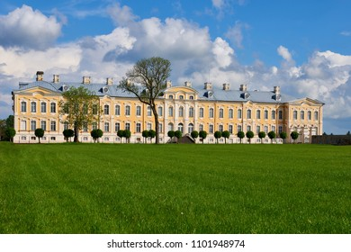 Rundale, Latvia. May 18, 2018. Rundale palace in Latvia.Blue cloudy sky. It is made in baroque style. Famous attraction place for tourists.